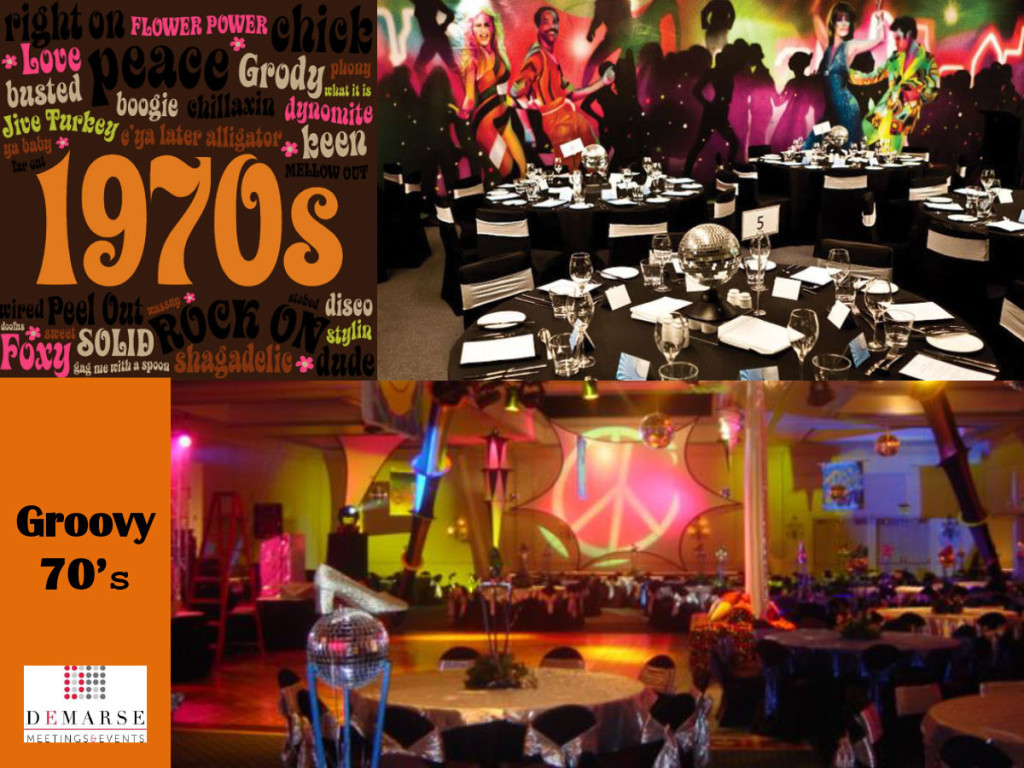 Groovy 70 39 s demarse meetings events for 70s theme decoration ideas